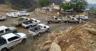 صورة نشرها ناشطون سعوديون لعلمايت اخلاء جماعية لسكان قبائل جيزان